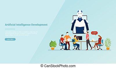 ai, artificiel, vecteur, développement, site web, ou, bannière, intelligence, atterrissage, gabarit, -, page accueil