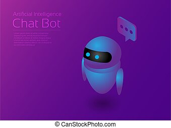 Ai assistant - Isometric artificial intelligence chat bot, ...