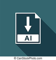 ai, bestand, document, icon., downloaden, ai, knoop, pictogram, vrijstaand, met, lang, shadow., plat, design., vector, illustratie