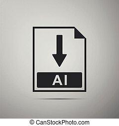 ai, bestand, document, icon., downloaden, ai, knoop, pictogram, vrijstaand, op, grijze , achtergrond., plat, design., vector, illustratie