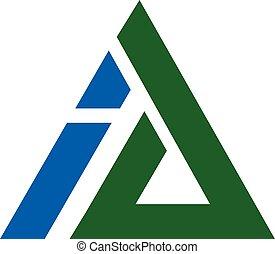 ai, brief, driehoek, logo