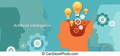 ai, cerveau, robot, créer, intelligence, informatique, ...