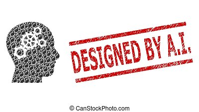a.i., conçu, engrenages, cachet, collage, timbre, cerveau, grunge, recursive, icônes
