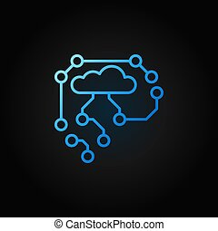 AI Cyberbrain blue outline icon - vector thin line symbol -...