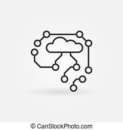 AI Cyberbrain outline icon - vector brain concept line sign...
