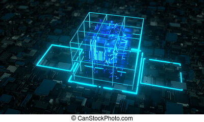 AI deep learning computer. 4K UHD. Seamless looping
