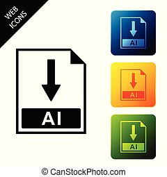 AI file document icon. Download AI button icon isolated. Set icons colorful square buttons. Vector Illustration