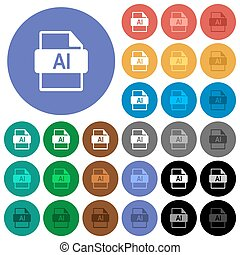 AI file format round flat multi colored icons