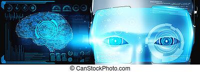 ai, haut, robot, figure, concept, fin, graphique, humanoïde, cerveau pensée