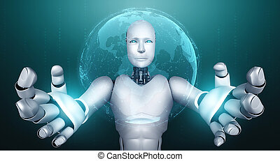 AI humanoid robot holding hologram screen shows concept of global communication network using artificial intelligence thinking by machine learning process. 3D illustration computer graphic.