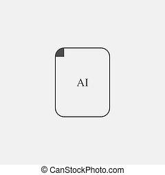 AI Icon in black color. Vector illustration eps10