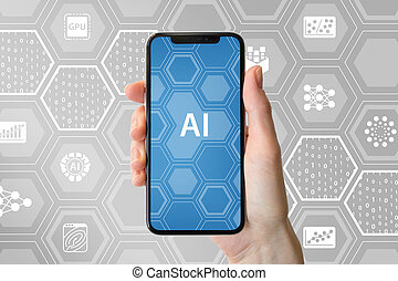 ai, /, inteligência artificial, concept., passe segurar, modernos, frameless, smartphone, frente, neutro, fundo, com, ícones