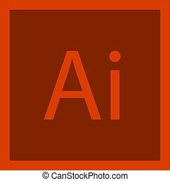 ai, (, kunstmatige intelligentie, ), brieven, pictogram, logo, vector