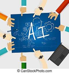 ai, kunstmatige intelligentie, computer b?ta, opleiding, studeren, onderzoek, universiteit, werken, samen, vorm een team werk