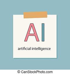 ai, kunstmatige intelligentie, geschreven, in, een, notitieboekje papier