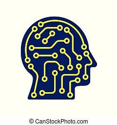 ai, kunstmatige intelligentie, icon., techno, menselijk hoofd, logo, concept, creatief, idee, meldingsbord, leren, pictogram, mensen.