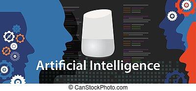 ai, kunstmatige intelligentie, smart, thuis, digitale assistent, spreker, technologie, apparaat, internet, van, spullen, smart, spreker