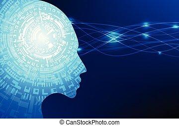 ai, kunstmatige intelligentie, toekomst, technologie, blauwe achtergrond