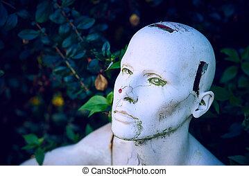 AI mannakin - A mannaking head shot against a background of...