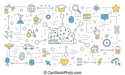 AI or artificial intelligence concept. Futuristic technology.