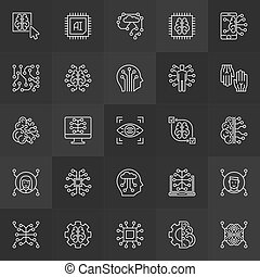 AI or artificial intelligence vector concept line icons - AI...