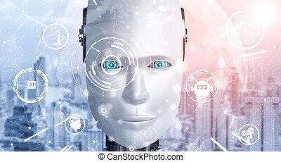 ai, pensée, fin, robot, haut, humanoïde, graphique, figure, concept, cerveau