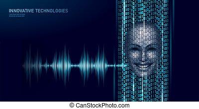 ai, programm, stimme, technologie, anerkennung, vektor, abbildung, hilfe, support., geschaeftswelt, code, service, virtuell, arbeit, edv, assistent, concept., roboter, intelligenz, chatbot, künstlich, binärer, zukunftsidee