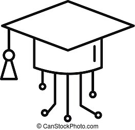 Ai smart graduate hat icon, outline style