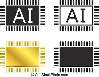 Ai, symbool, pictogram, Systeem,  CPU