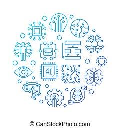 AI technology round blue line illustration on white background