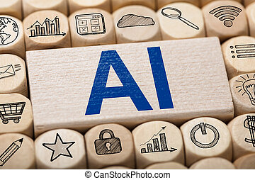 AI Text On Wooden Block Surrounded By Computer Icons