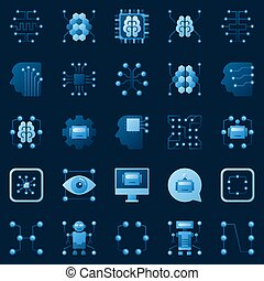 ai, vector, elementos, logotipo, inteligencia, iconos, set., artificial
