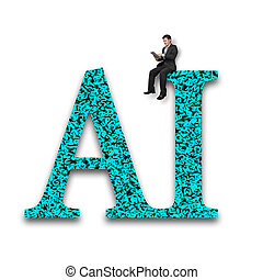 AI word of huge amount letters numbers with businessman sitting.