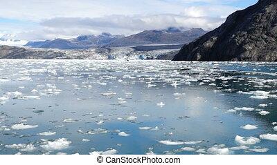 Aialik Glacier Ice Flow Pacific Ocean Alaska Coast Kenai...