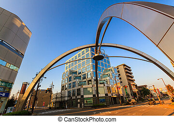 Modern architecture in Komaki city of Aichi, Japan Detail of the