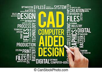 aidé, -, informatique, conception, cao