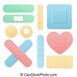Aid Band Plaster Medical Patch Color Set. Vector