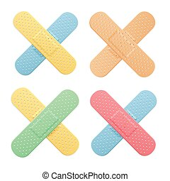 Aid Band Plaster Strip Medical Patch Color Cross Set. Vector