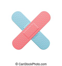Aid Band Plaster Strip Medical Patch Color Cross. Vector