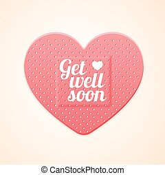 Aid Band Plaster Strip Medical Patch Heart Card. Vector