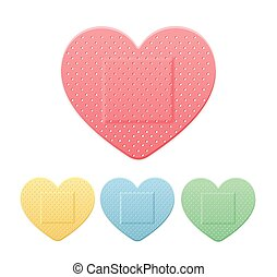 Aid Band Plaster Strip Medical Patch Heart Color Set. Vector...
