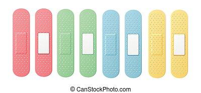 Aid Band Plaster Strip Medical Patch Set Color. Vector