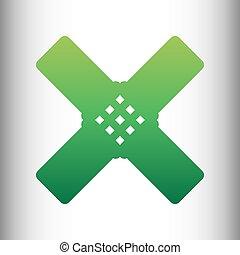 Aid sticker sign. Green gradient icon