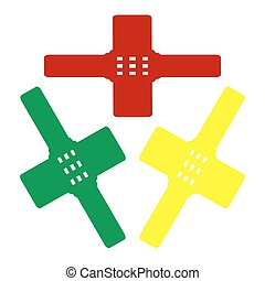 Aid sticker sign. Isometric style of red, green and yellow icon.