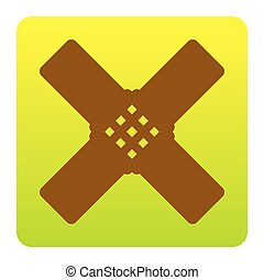 Aid sticker sign. Vector. Brown icon at green-yellow gradient square with rounded corners on white background. Isolated.