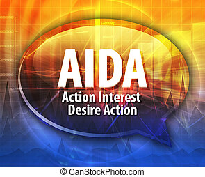 AIDA acronym word speech bubble illustration - word speech ...