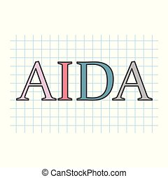 AIDA (Attention Interest Desire Action) written on checkered paper sheet
