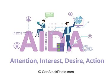 AIDA, Attention, Interest, Desire and Action. Concept table with keywords, letters and icons. Colored flat vector illustration on white background.