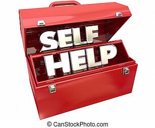 aide, amélioration moi, mots, boîte outils, conseil, ressources, 3d
