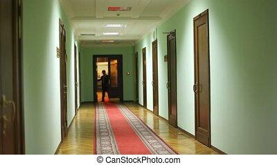 aide, approchant, couloir, entrer, député